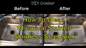 How To Clean Chemical Stained Stainless Steel Kitchen Sink Youtube