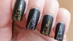 Easy Prom Nails - Black Matte With Glitter Nail Art Design ...
