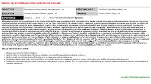 Telecommunication Resume Telecommunication Specialist Job Letter Resume