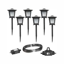 Low Voltage Lights Not Working Hampton Bay Low Voltage Black Outdoor Integrated Led Landscape Path Light 6 Pack Kit