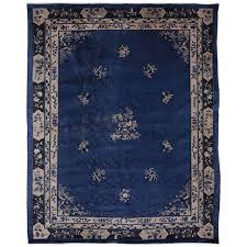 fine indigo blue peking rug for