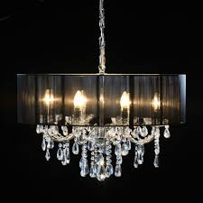 home lighting ceiling lights chandeliers chrome 8 branch chandelier with black shade