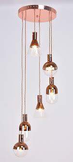 six light copper chandelier