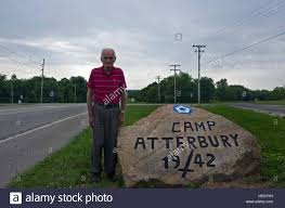 Herman Johnson stands beside the Camp Atterbury Rock in central Stock Photo  - Alamy