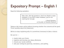 understanding the essay and rubric ppt video online  5 expository prompt english i