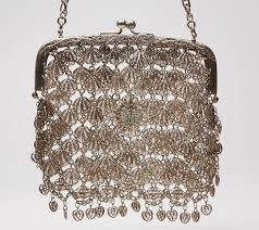 antique chinese heavy silver filigree chain purse c 1900