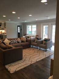 living room recessed lighting ideas. Sherwin Williams Eider White. Modern Flat Trim. Recessed Light. Open Concept Living. Living Room Lighting Ideas