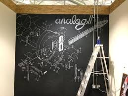 chalkboard paint wall guitar mural done by hand with chalk and projector wall paint vs projector
