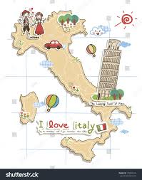 map depicting tourist attractions italy stock illustration