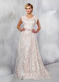 embroidered wedding dress. Embroidered Lace Wedding Dress Modest by Mon Cheri TR21724