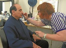 moustache david gets transformed into poirot by his makeup artists itv