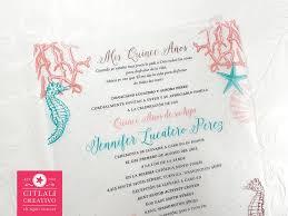 Invitations Quinceanera Under The Sea Vellum Translucent Quinceañera Birthday Invitations