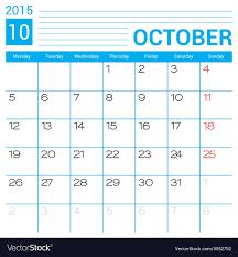2015 calendar template october 2015 calendar page template royalty free vector
