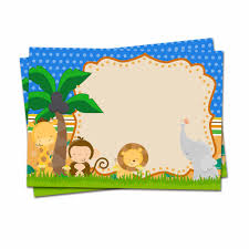 Jungle Theme Birthday Invitations Safari Animals Theme Invitations Card Birthday Party