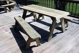 DIY Patio Picnic Bench Table Set With Solid Wooden Table And Separate  Benches For Patio With Hardwood Floor Tiles Ideas