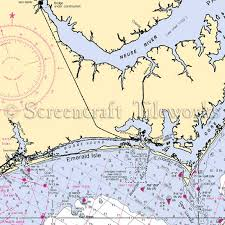 emerald chart north carolina emerald isle nautical chart decor