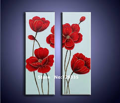 free 100 hand painted 2pcs oil painting on canvas red flower acrylic painting home