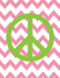 Peace Sign Bedroom Decor Teen Room Decor Peace Sign Chevron Background Custom Colors Size