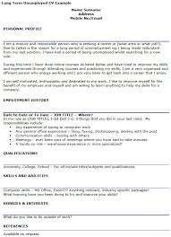 Cv Writing Examples Personal Profile Long Term Unemployed Cv Example Icover Org Uk