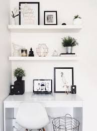 Floating shelf desk Northmallow White Floating Shelves Echo With The White Lacquer Desk For Perfect Stylish Look Digsdigs 35 Floating Shelves Ideas For Different Rooms Digsdigs