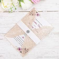 Elegant Laser Cut Invitations Cards With Crystal For Wedding Bridal