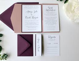 Wedding Invitation Folder Burgundy And Dusty Rose Wedding Invitation Folders With