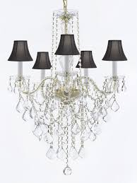 murano venetian style all crystal chandelier lighting with black shades h30 x w