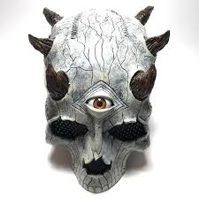 leather skull mask i made for a pro wrestler with resin horns plastic eye and mesh eye covers