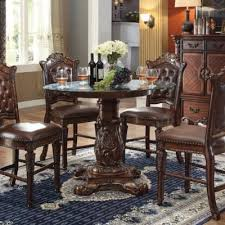 aarsun handcrafted teak wood round shape 4 seater dining set