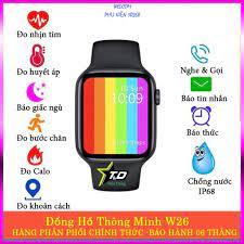 Đồng hồ thông minh W26 HiWatch 6, Nghe gọi, màn hình tràn viền, chống nước  IP68, thay được dây Apple Watch (2020) - Đồng Hồ Thông Minh Hãng No Brand