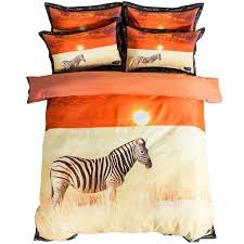 3d animal zebra print sunset bedding sets twin queen king size duvet cover cotton bed sheets pillowcase modern home textiles twin comforter sets king