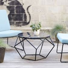 marble and metal outdoor round coffee table