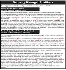 Employment Wanted Security Manager Jobs