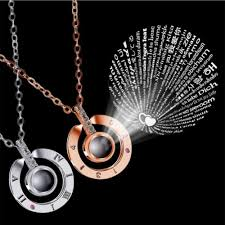 Personalized Light Projective Photo Necklace I Love You In 100 Languages Projection Pendant Necklace O