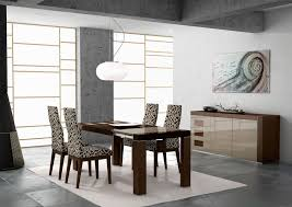 winsome modern dining room decor ideas with funky wall art also circular pendant light feat upholstered dining chairs plus white area rug on grey tiled