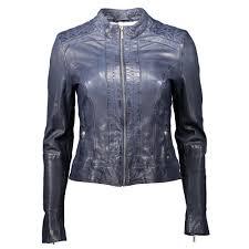 hugo boss janabelle slim fit biker leather jacket blue