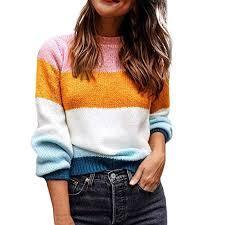 Staron Color Chart Amazon Com Staron Color Block Sweater Long Sleeve Knit