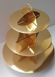 New 3 Tier Cupcake Stand Cardboard Gold ...