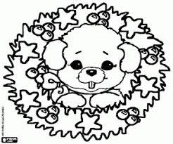 Kleurplaat Puppy En De Kroon Van Kerstmis Kleurplaten