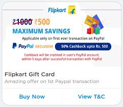 flipkart paypal offer what is paypal offer on flipkart gift cards