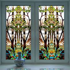 church colored frosted window decorative stained glass sticker etched glass window clings
