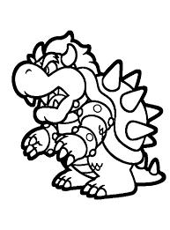 Kleurplaat Papieren Bowser Van Super Mario Op De Wii