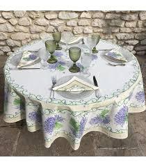tissus toi round tablecloth in cotton bouquet de lavande off white