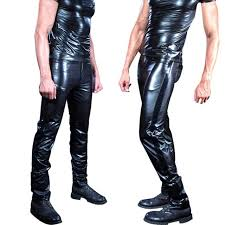 y plus size mens wear shiny patent leather pants faux leather tight glossy punk stage pencil