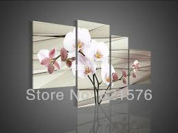 hand painted modern wall art picture living room home decor pink white magnolia flower oil