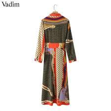 Vadim Women Elegant Patchwork Print Maxi Dress Bow Tie