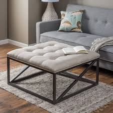 Creston Grey Linen Tufted Ottoman As Pedestal Using Simple Rug And