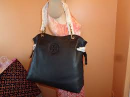 nwt tory burch marion slouchy black leather shoulder tote 595