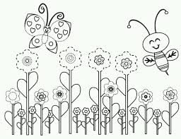 Free Coloring Pages Of Flowers Butterflies Bees Birds