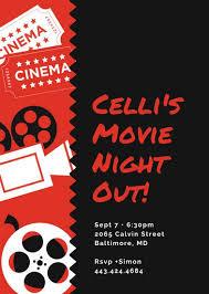Movie Night Invitation Templates Red Cinema Things Movie Night Party Invitation Templates By Canva